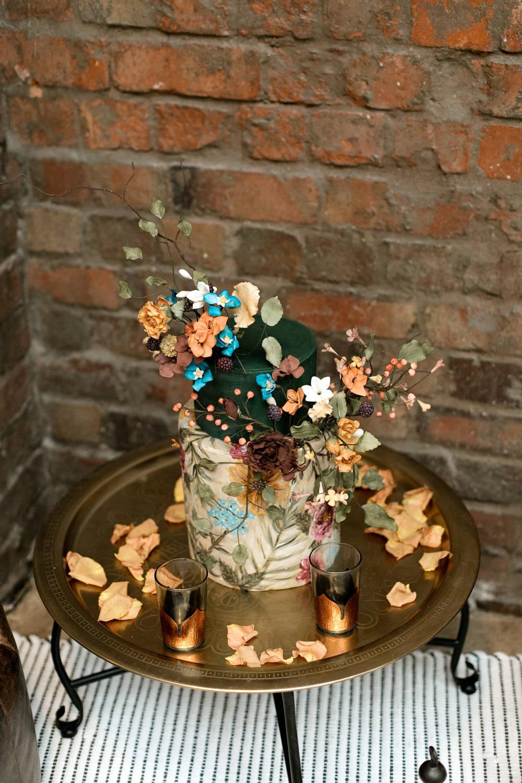 Cake Flowers Foliage Green Moroccan Wedding Ideas Emma Louise Photography