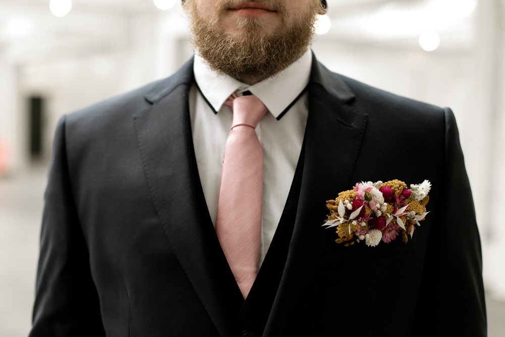 Groom Suit Pink Tie Buttonhole Flowers Moroccan Wedding Ideas Emma Louise Photography