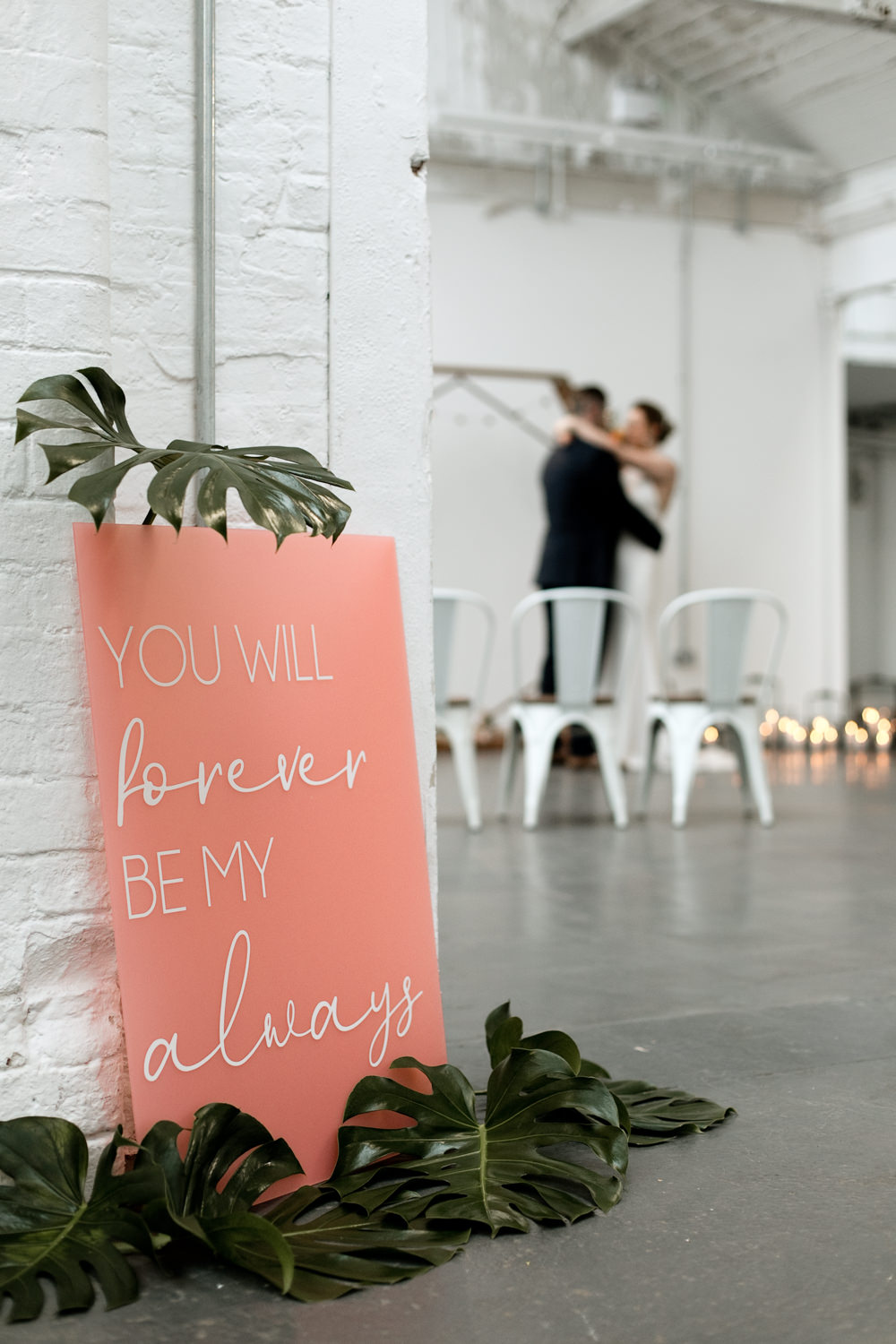 Pink Sign Signage Signs Palm Leaves Greenery Moroccan Wedding Ideas Emma Louise Photography