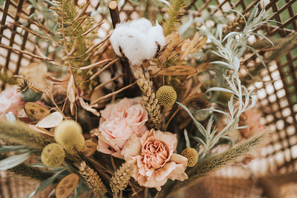 Bouquet Flowers Bride Bridal Grass Grasses Wheat Seeds Cotton Wool Rose Billy Ball Naked Tipi Wedding Ideas Holly Rose Stones