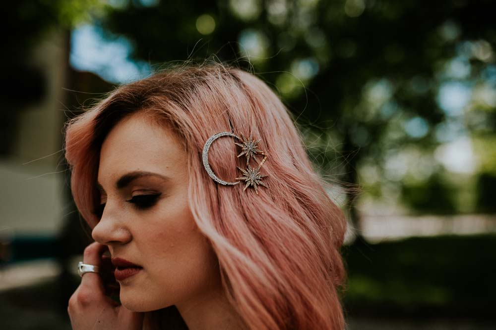 Pink Hair Bride Bob Waves Celestial Star Moon Hair Clip Slide Neon Sign Wedding Ideas State Of Love and Trust Photography