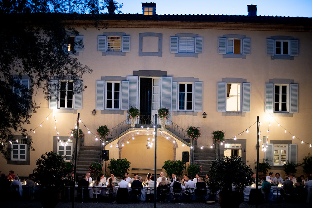 Festoon Lights Lighting Outdoors Outside Reception Tuscany Wedding Lelia Scarfiotti