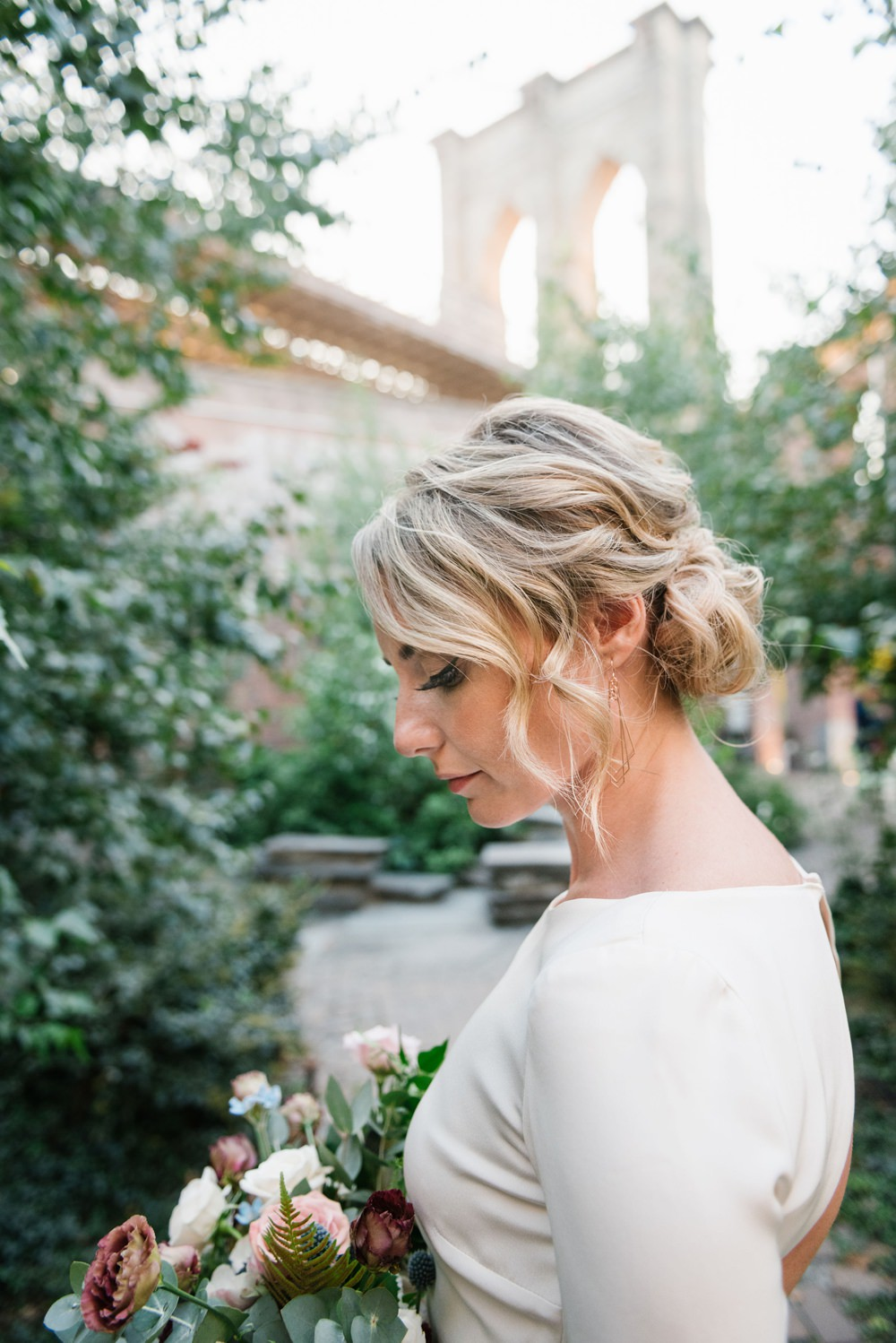 Bride Bridal Hair Style Up Do Chignon Brooklyn Elopement Everly Studios