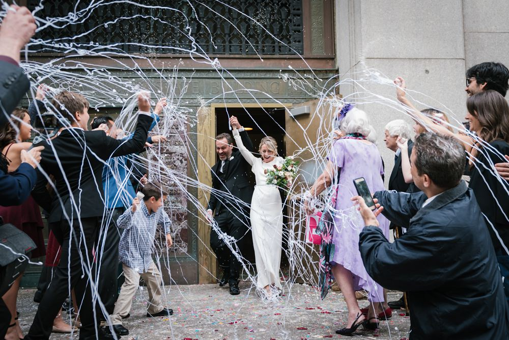 Silly String Confetti Brooklyn Elopement Everly Studios