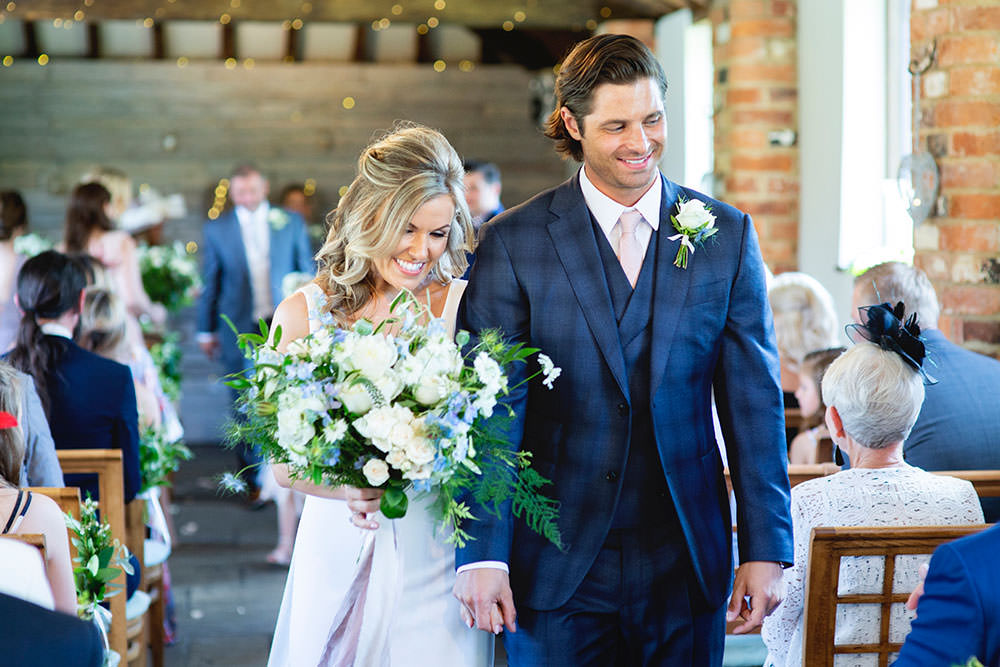 Bride bridal Fitted Fishtail Dress Gown Checked Suit Groom White Blue Bouquet Countryside Barn Wedding Katrina Matthews Photography