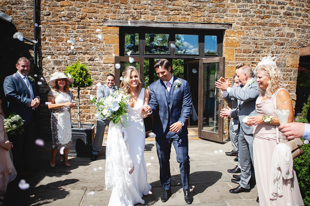 Bride bridal Fitted Fishtail Dress Gown Checked Suit Groom Blue White Bouquet Confetti Countryside Barn Wedding Katrina Matthews Photography