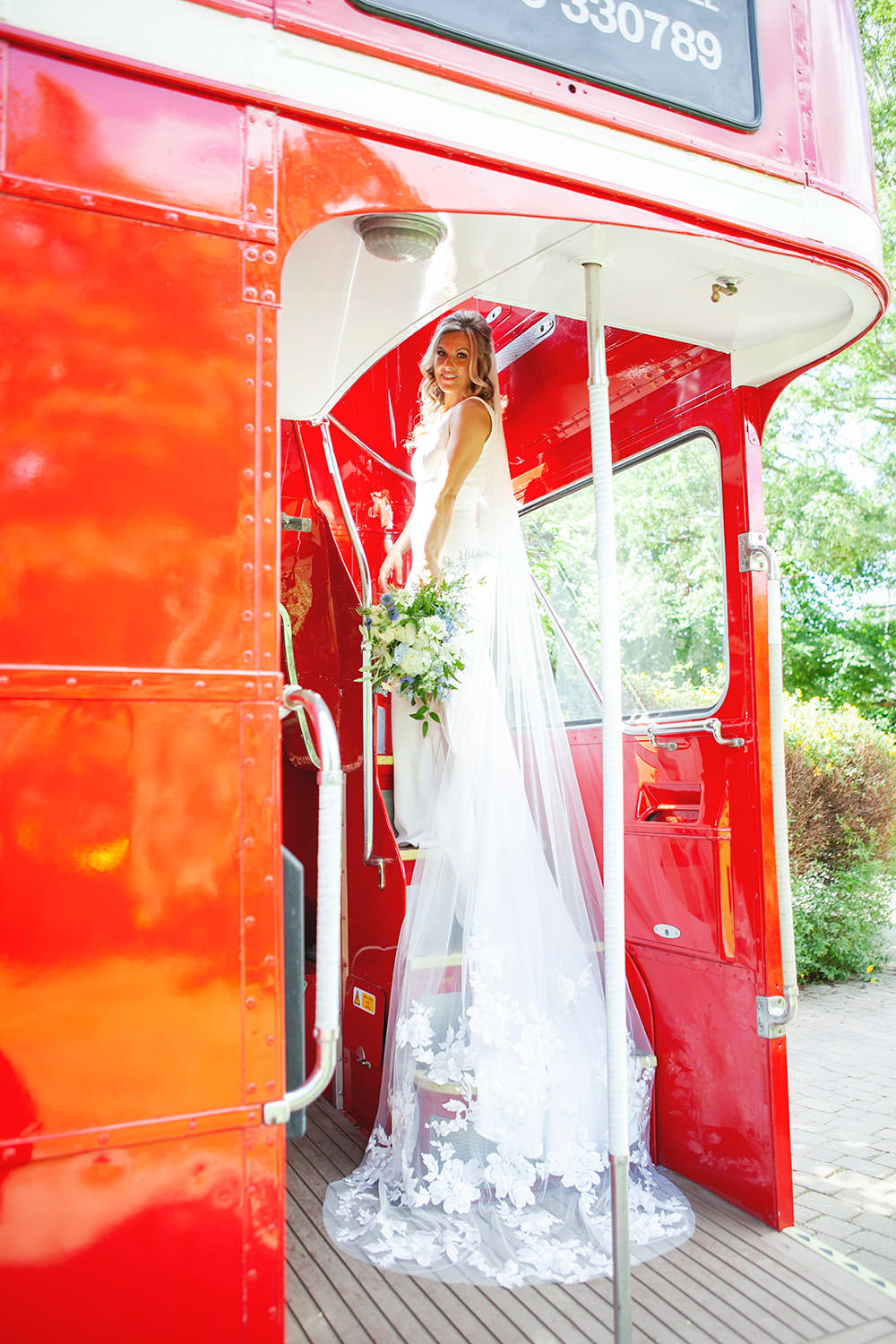 Bride bridal Fitted Fishtail Dress Gown Embroidered Floral Veil Vintage Bus Countryside Barn Wedding Katrina Matthews Photography