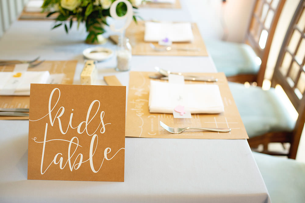 Kids Table Modern Calligraphy Countryside Barn Wedding Katrina Matthews Photography