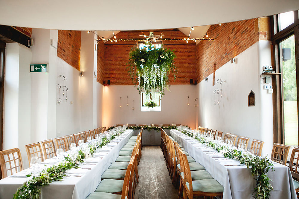 Greenery Foliage Chandelier Runners Dining Countryside Barn Wedding Katrina Matthews Photography