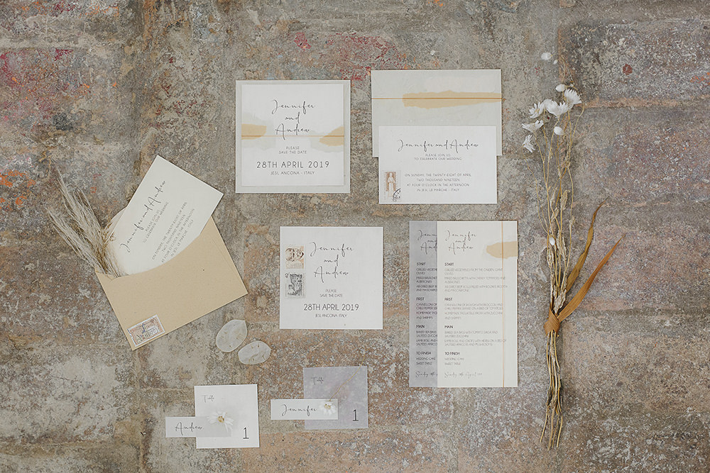 Stationery Calligraphy Glassine Envelope Suite Invite Invitations Flatlay Ethereal Artistic Wedding Ideas Francesca Francesca