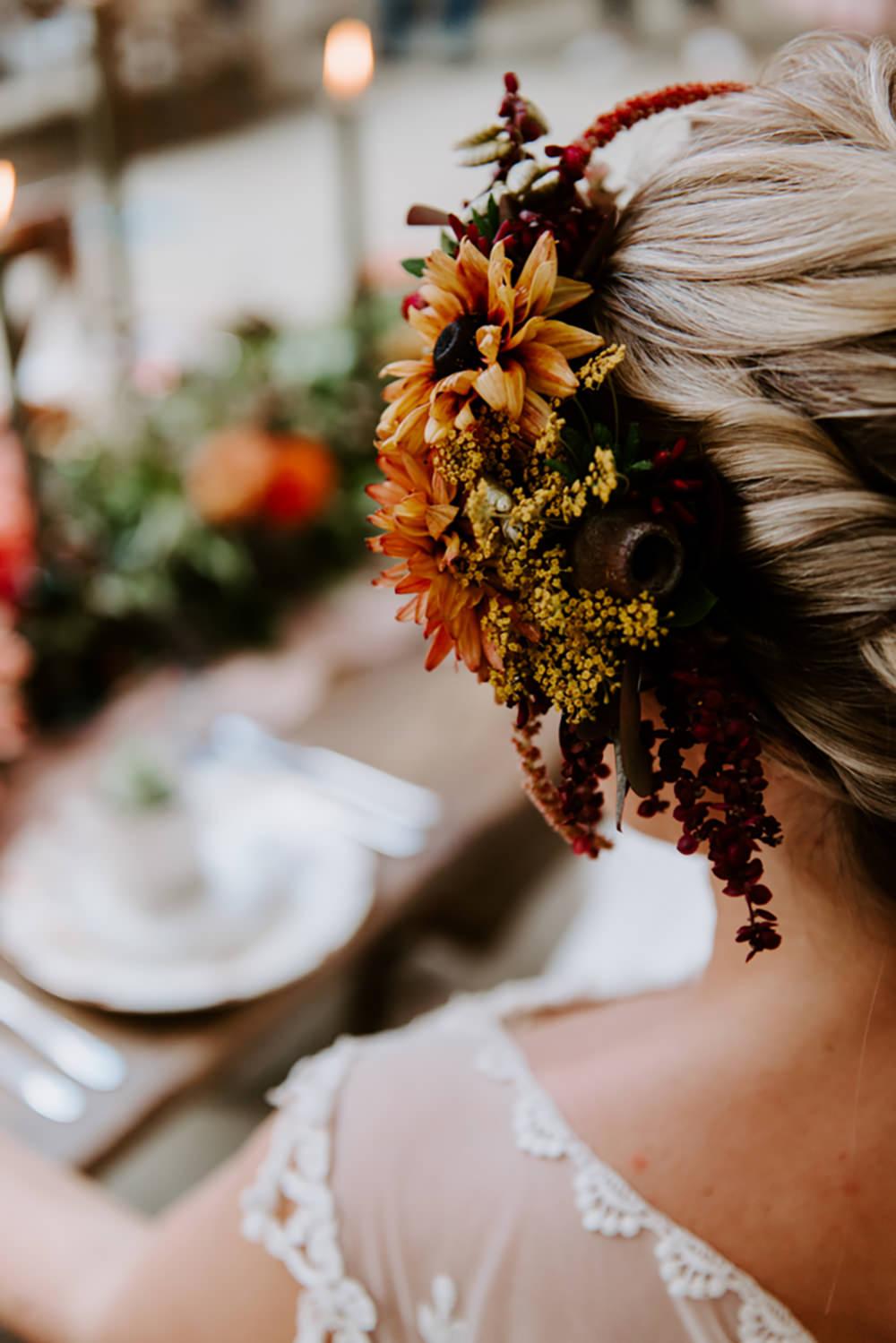 Bride Bridal Hair Flower Crown Halo Headdress Accessory Ethical Wedding Ideas Sadie Osborne Photography