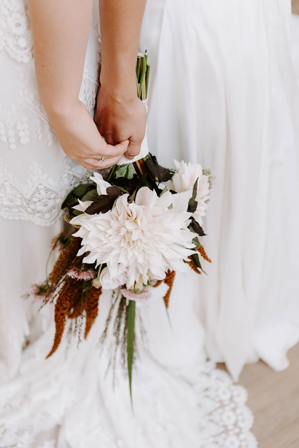 Bride Bridal Bouquet Flowers Cafe Au Lait Dahlia Ethical Wedding Ideas Sadie Osborne Photography