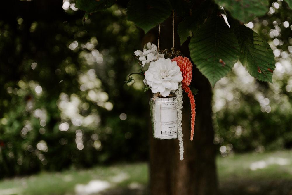 Hanging Suspended Flowers Tree Jar Can Ethical Wedding Ideas Sadie Osborne Photography