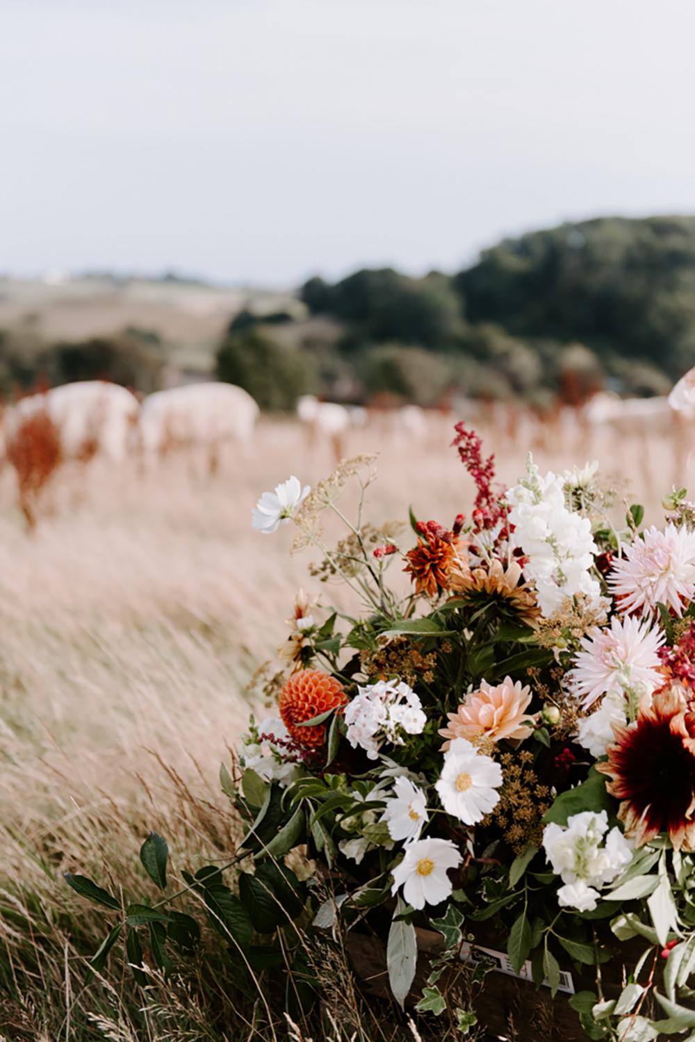 Flowers Flower Arrangement Fall Autumn Coral Pink Greenery Foliage Dahlia Ethical Wedding Ideas Sadie Osborne Photography