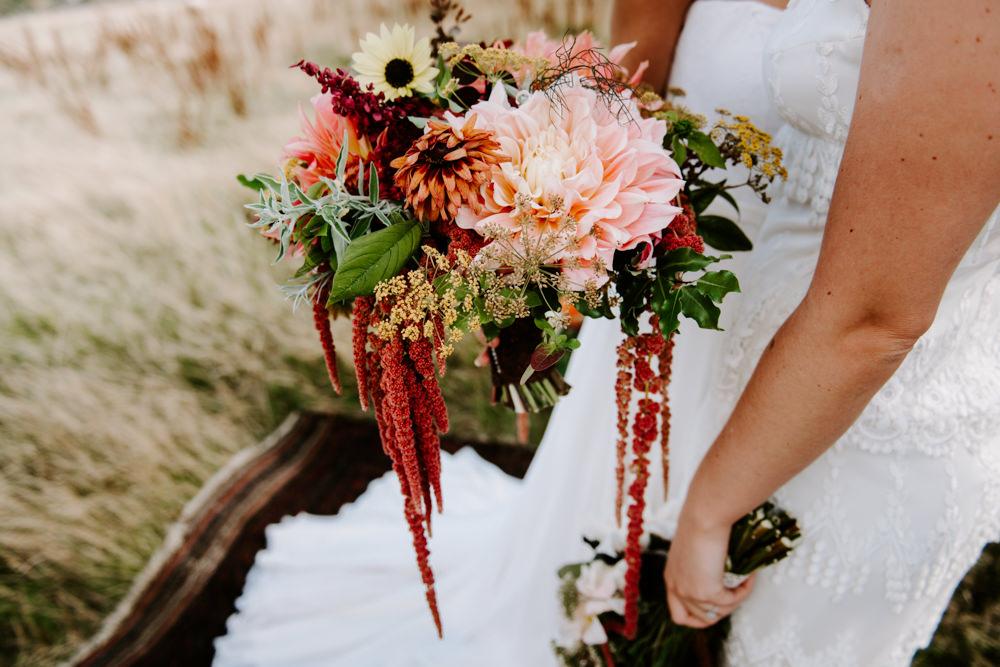 Bouquet Flowers Bride Bridal Autumn Fall Coral Daliah Amaranthus Ethical Wedding Ideas Sadie Osborne Photography