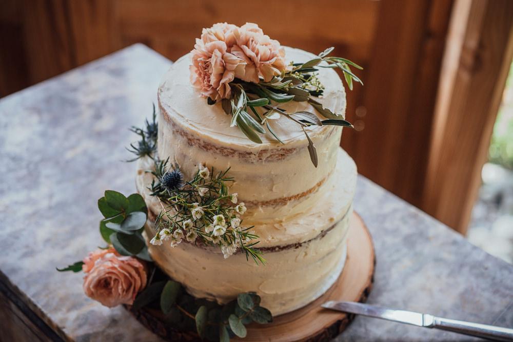 Semi Naked Cake Flowers Log Slice France Destination Wedding The Shannons Photography