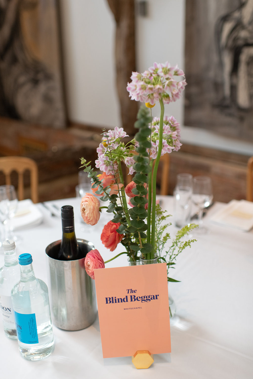 Table Flowers Pink Graphic Table Names Bottle Decor Henry Moore Wedding Ellie Gillard Photography