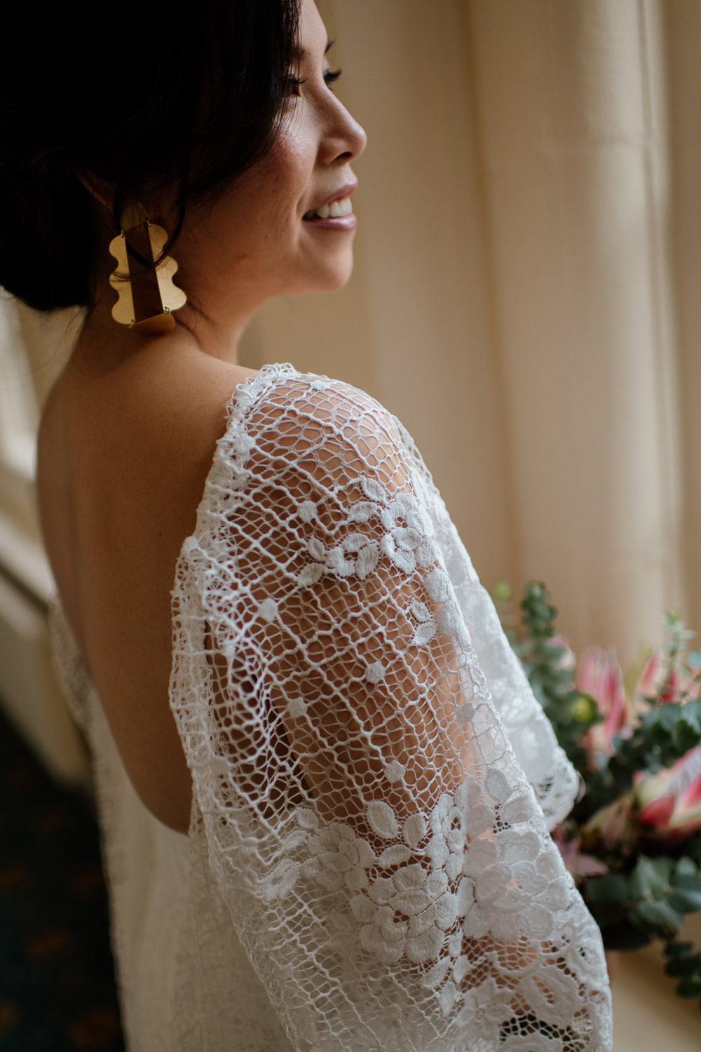 Dress Gown Bride Bridal Grace Loves Lace Verdelle Sleeves Train Henry Moore Wedding Ellie Gillard Photography