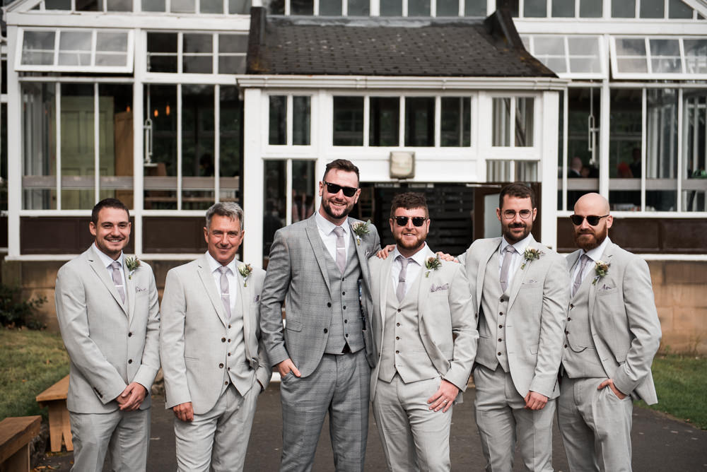 Groom Groomsmen Grey Three Piece Suit Waistcoat Tie Hexham Winter Gardens Wedding Leighton Bainbridge Photography