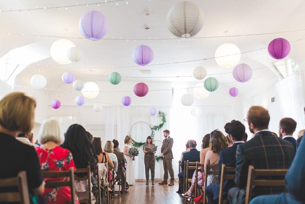 Hoop Backdrop Greenery Foliage Ceremony Aisle Lanterns Letchworth Wedding Milkbottle Photography