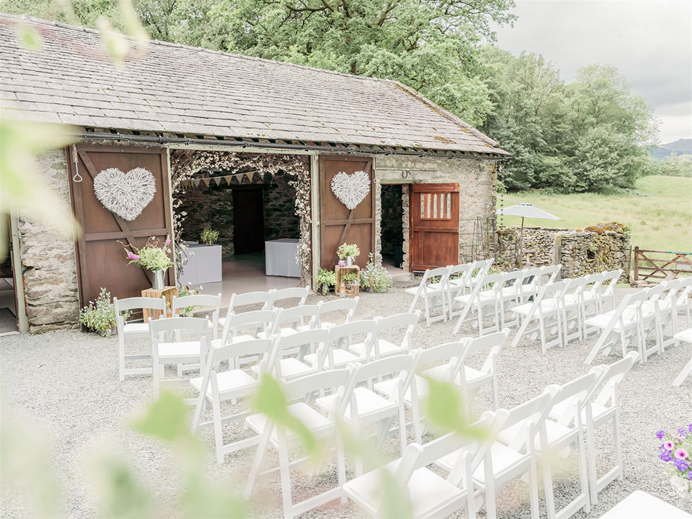 Outdoor Ceremony Barn Rustic Heart Surprise Wedding Carn Patrick Photography