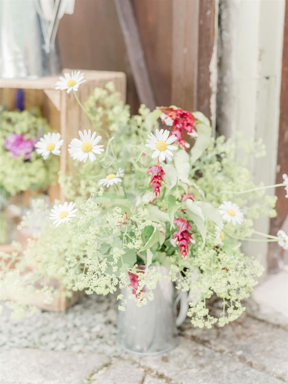 Greenery Flower Wildflower Jug Arrangement Flowers Surprise Wedding Carn Patrick Photography