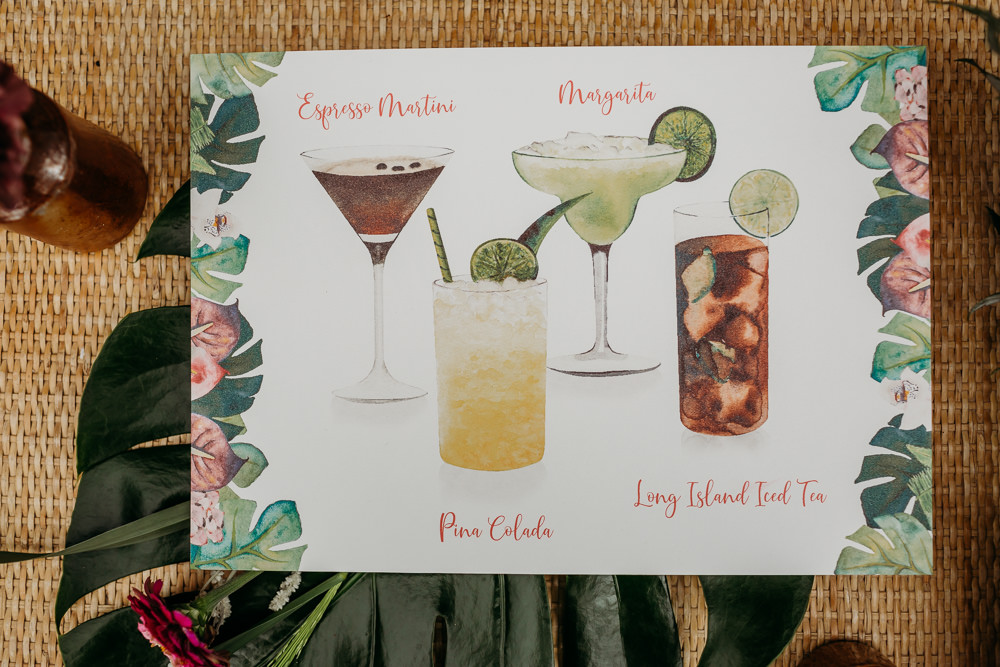Jungle Palm Leaf Stationery Drinks Cocktails Tropical Wedding Ideas When Charlie Met Hannah