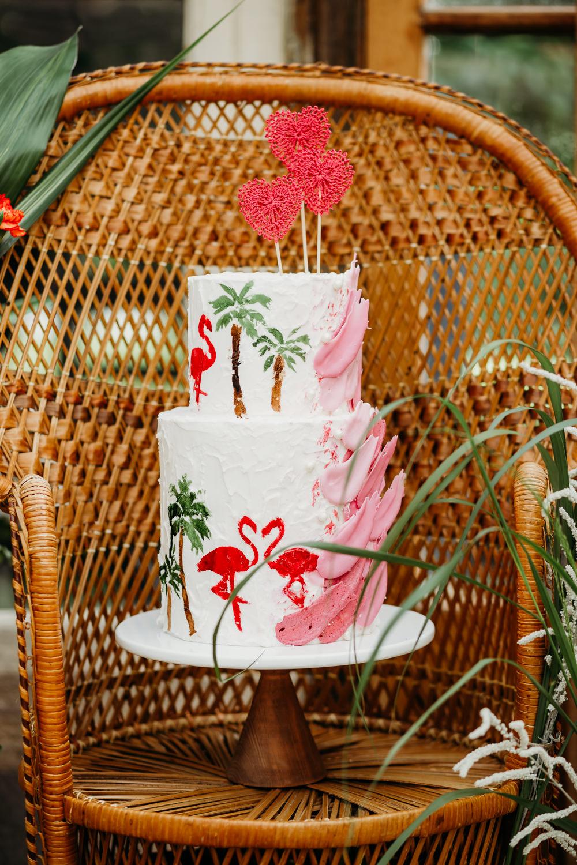 Cake Buttercream Flamingos Brush Strokes Palm Trees Crochet Heart Topper Tropical Wedding Ideas When Charlie Met Hannah