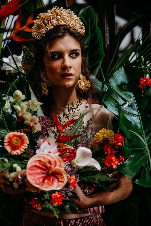 Tropical Wedding Ideas When Charlie Met Hannah Flower Bouquet Bride Bridal Palm Leaf Birds of Paradise Protea Orchids Anthurium Lily