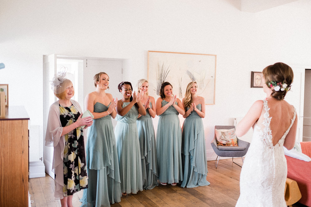 Bridesmaids Mismatched Teal Maxi Dress Bride Bridal Low V Back Gown Lace Utopia Broughton Hall Wedding Christopher Thomas Photography