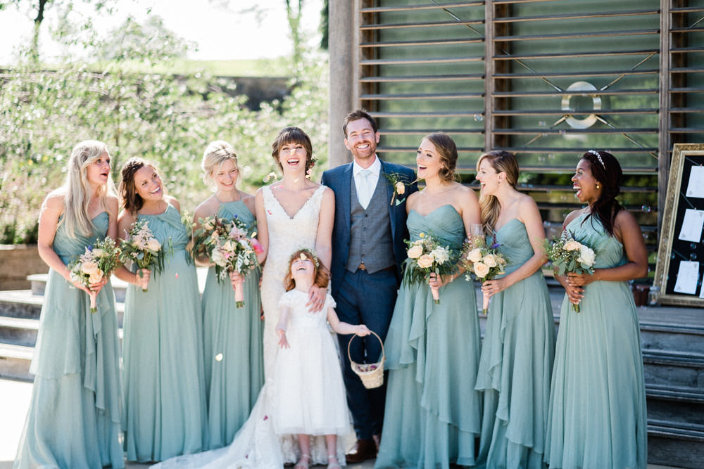 Mismatched Sage Teal Bridesmaids Dress Gown Flower Girl Bride Utopia Broughton Hall Wedding Christopher Thomas Photography