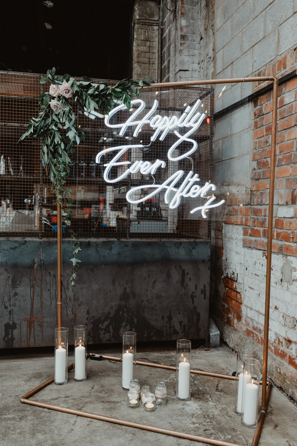 Backdrop Frame Ceremony Aisle Neon Light Candles Greenery Flower Arch 92 Burton Road Wedding Stevie Jay Photography