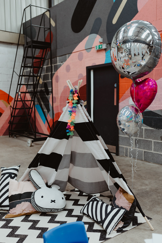 Kids Childrens Area Tipi Tent 92 Burton Road Wedding Stevie Jay Photography