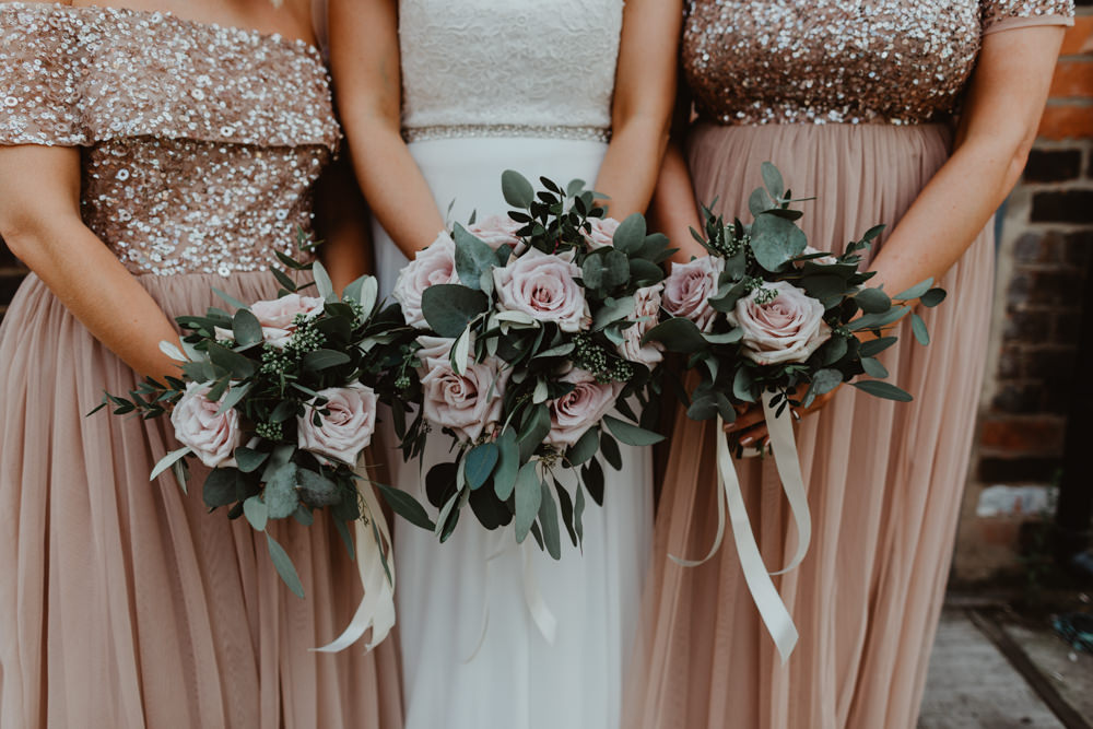 Bouquet Flowers Bride Bridal Bridesmaid Pink Rose Eucalyptus Ribbon 92 Burton Road Wedding Stevie Jay Photography