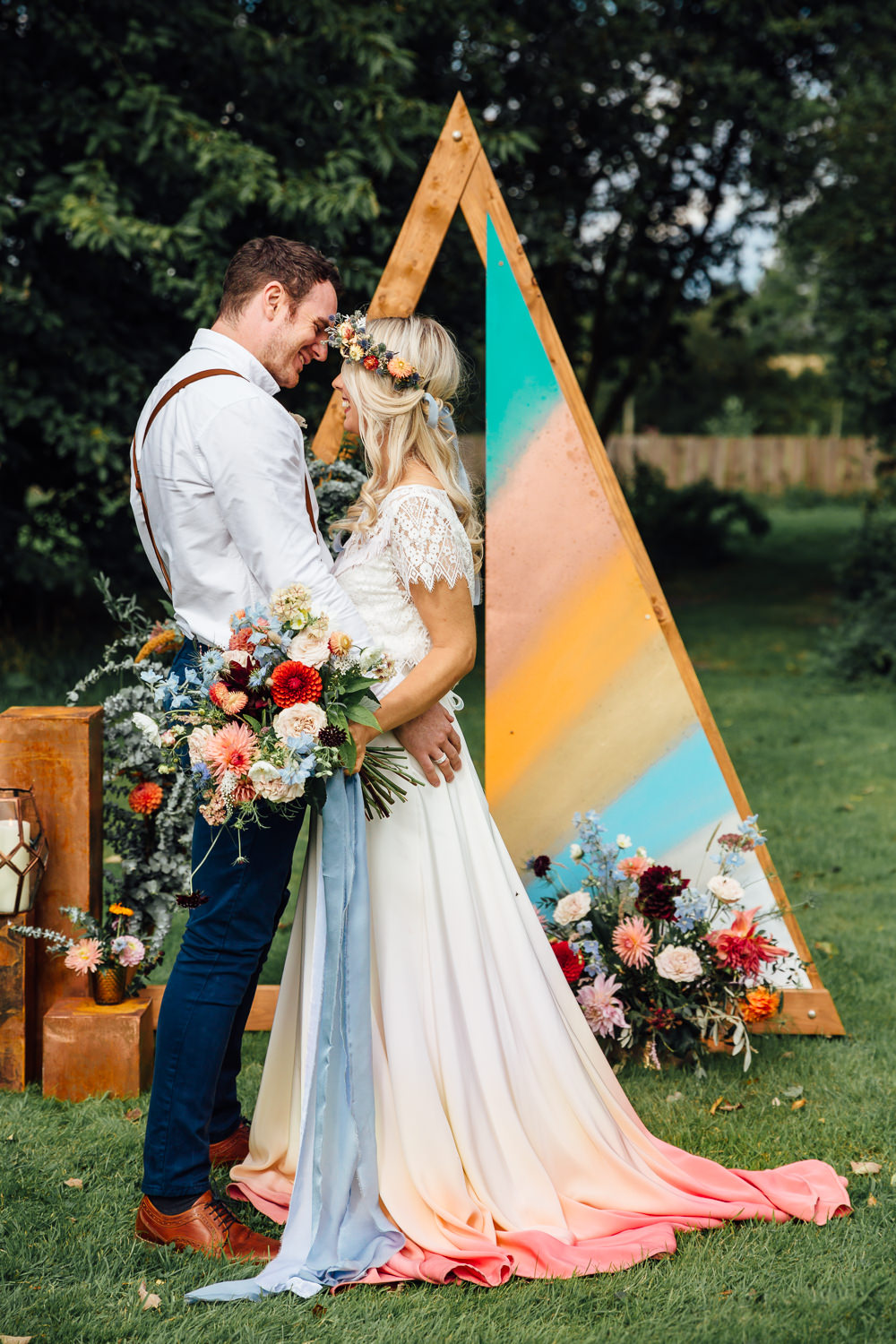 Autumn Festival Wedding Ideas Indigo and Violet Photography Triangle Wooden Painted Backdrop Decor Flowers