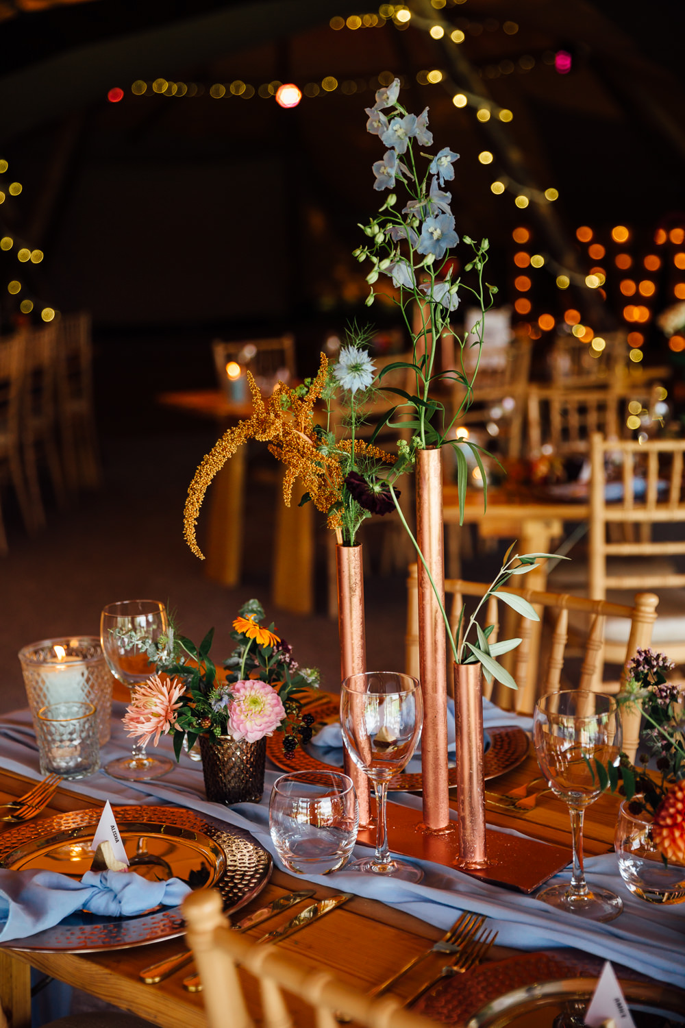 Copper Pipe Flowers Centrepice Decor Decoration Autumn Festival Wedding Ideas Indigo and Violet Photography