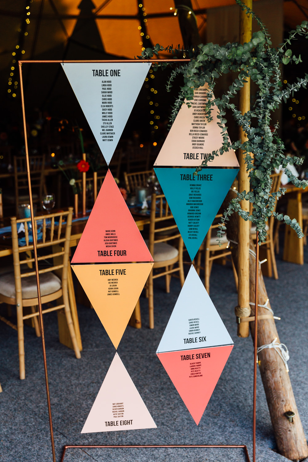 Triangle Geometric Stationery Copper Pipe Frame Seating Chart Table Plan Greenery Autumn Festival Wedding Ideas Indigo and Violet Photography