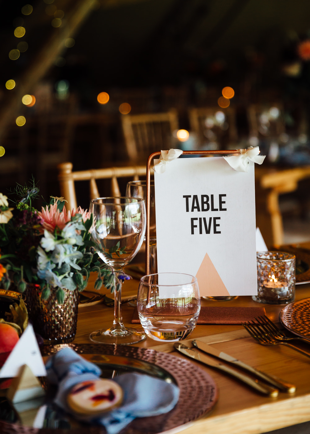Triangle Geometric Stationery Table Name Copper Pipe Autumn Festival Wedding Ideas Indigo and Violet Photography