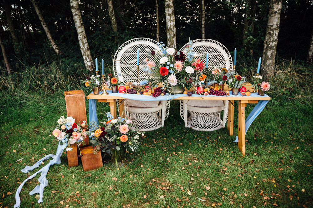 Peacock Chairs Decor Table Tablescape Flowers Candles Decoration Autumn Festival Wedding Ideas Indigo and Violet Photography