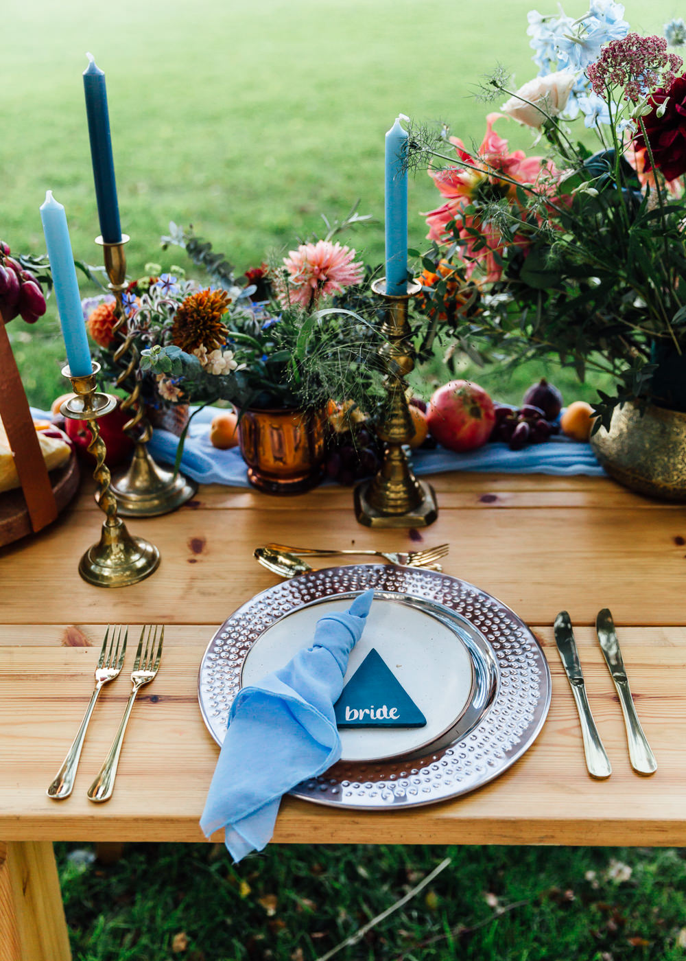 Decor Table Tablescape Flowers Candles Decoration Autumn Festival Wedding Ideas Indigo and Violet Photography