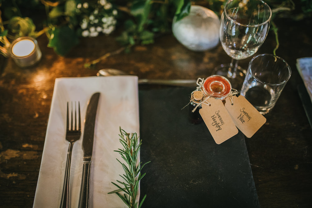 Table Setting Place Rosemary Favours Cosy Autumn Wedding Amy Jordison Photography