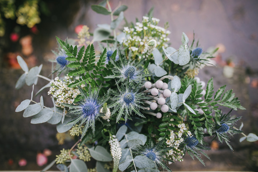 Bouquet Flowers Bride Bridal Greenery Thistle Eucalyptus Cosy Autumn Wedding Amy Jordison Photography