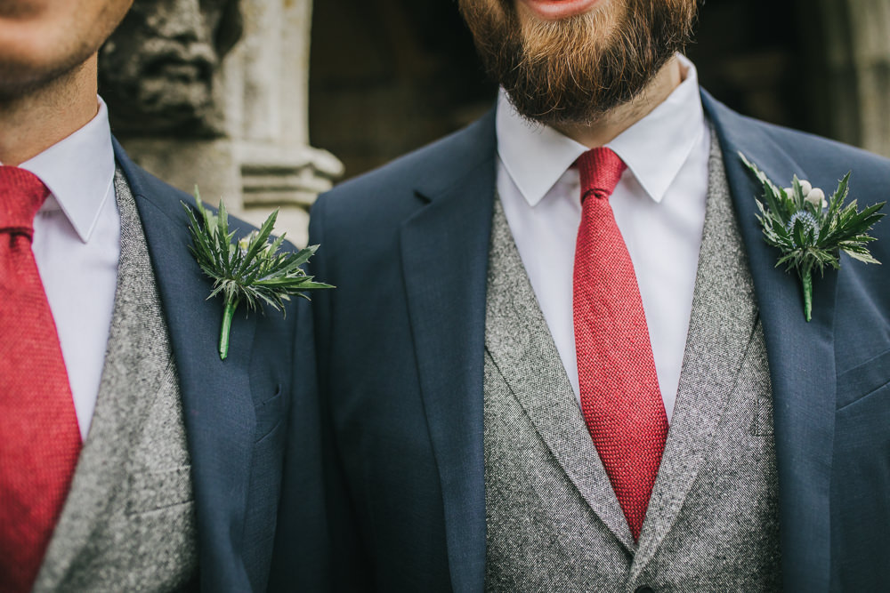 Groom Suit Blue Grey Waistcoat Red Tie Buttonholes Cosy Autumn Wedding Amy Jordison Photography