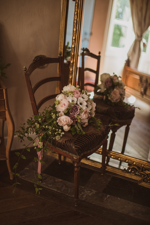 Bouquet Flowers Bride Bridal Anemones Silk Peonies Gypsophila Roses Eucalyptus Escape To The Chateau Wedding The Springles