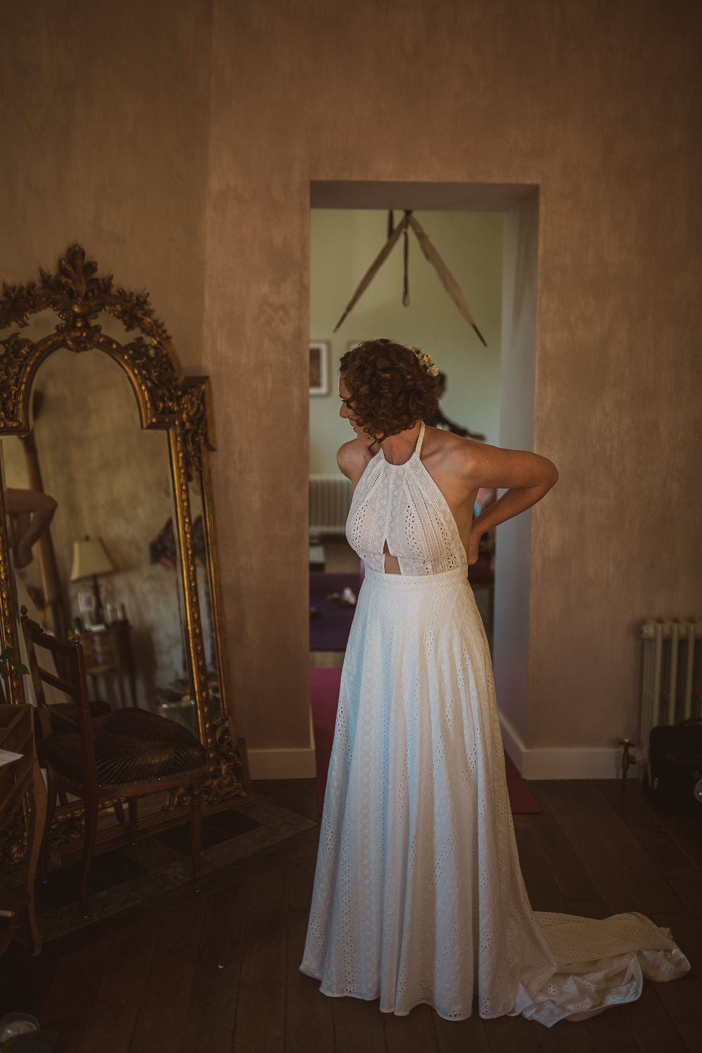 Bride Bridal Dress Gown Sottero and Midgley Halterneck Embroidery Anglaise Escape To The Chateau Wedding The Springles