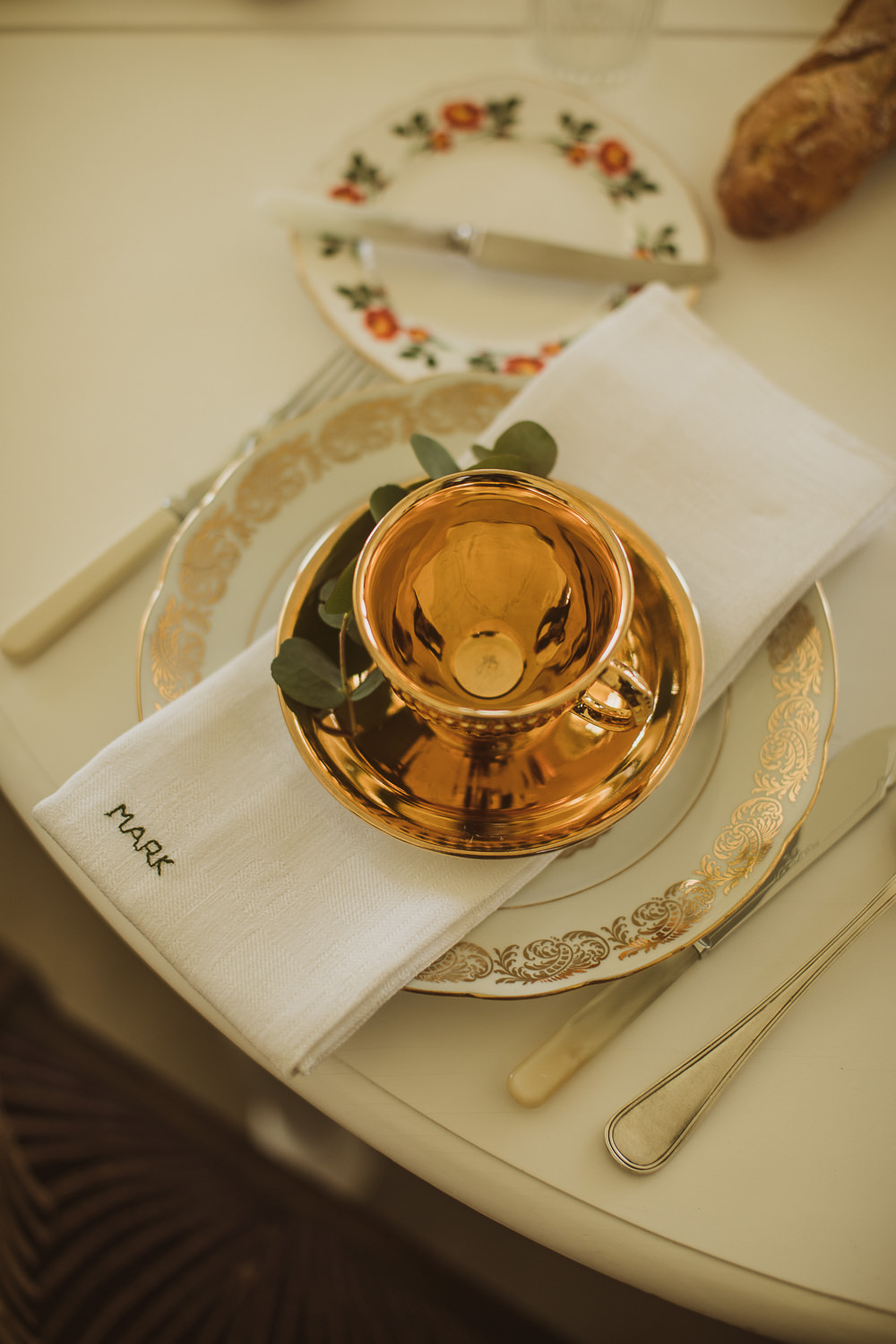 Place Setting Vintage Chine Gold Cup Embroidered Napkin Escape To The Chateau Wedding The Springles
