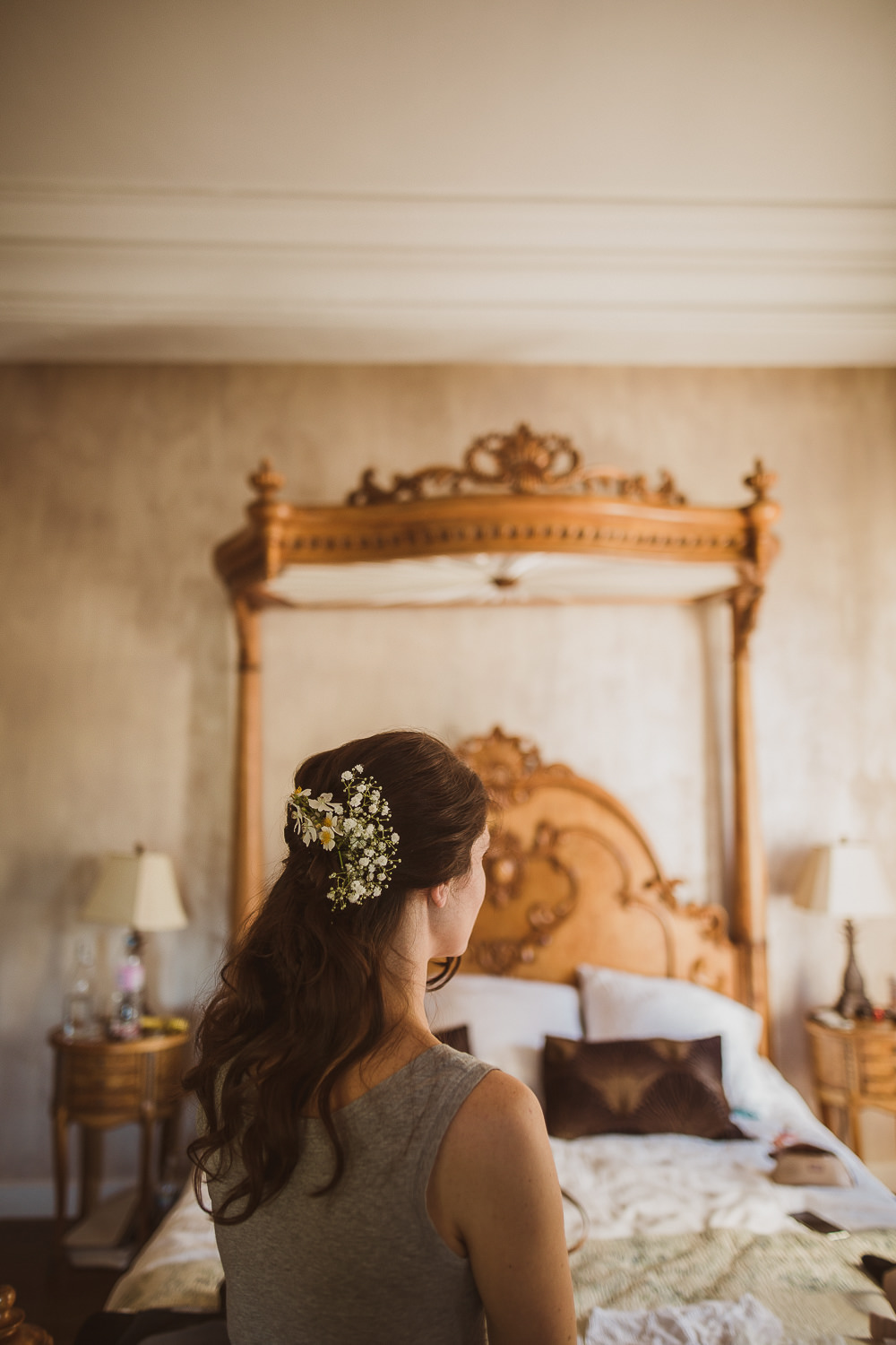 Bridesmaid Hair Style Up Do Flowers Escape To The Chateau Wedding The Springles