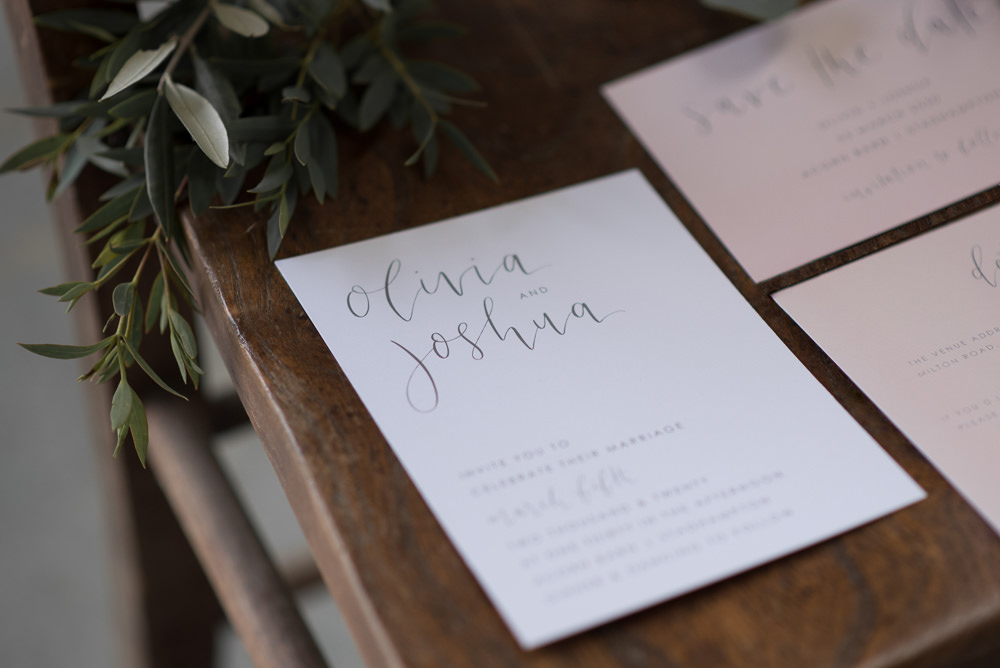 Stationery Invites Invitations Calligraphy Pink Minimalist Wedding Ideas Nicola Belson Photography