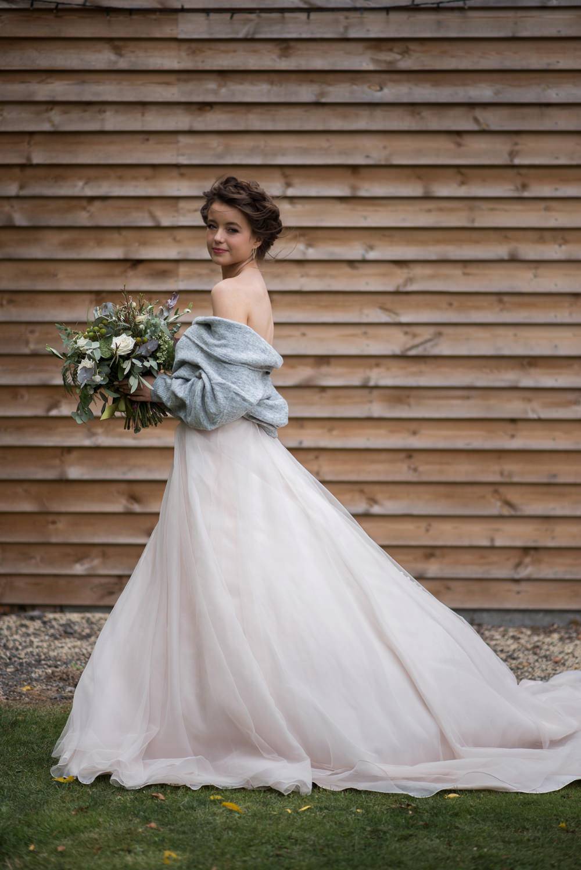 Bride Bridal Dress Gown Essense of Australia Tulle Cardigan Shawl Strapless Minimalist Wedding Ideas Nicola Belson Photography