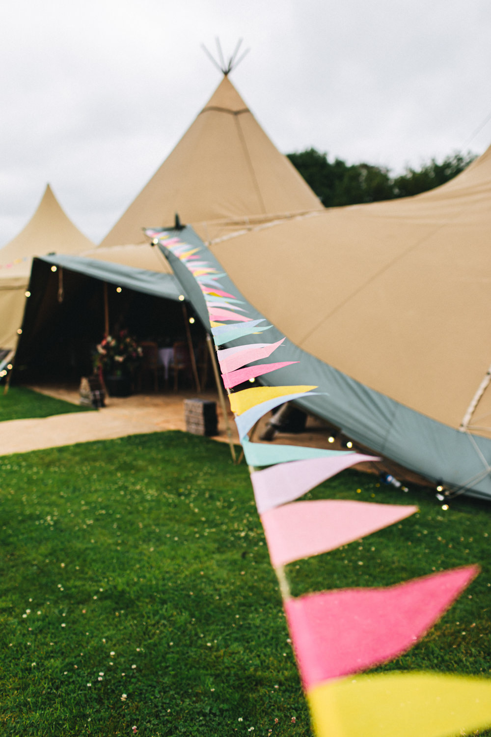 Tipi Bunting Outbuildings Wedding Jessica O'Shaughnessy Photography